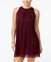 Speechless Juniors' Scalloped Lace Shift Dress