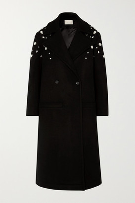 Christopher Kane Crystal-embellished Double-breasted Wool-blend Coat - Black