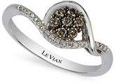 LeVian Chocolatier 14k Vanilla Gold Vanilla and Chocolate Diamond Ring, 0.25 TCW