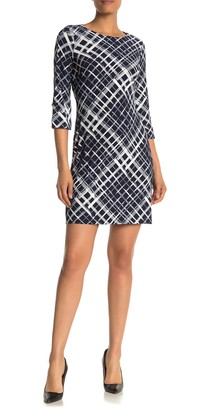 Tommy Hilfiger 3/4 Length Sleeve Diamond Print Sheath Dress
