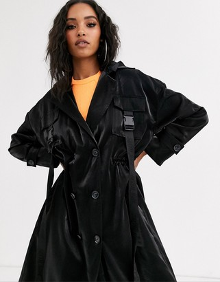 Sixth June relaxed trench coatwith buckle belt straps-Black