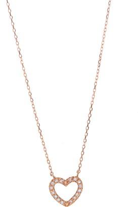 Ron Hami 14K Rose Gold Pave Diamond Open Heart Pendant Necklace - 0.05 ctw