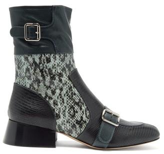 Chloé Cheryl Python And Lizard-effect Leather Boots - Womens - Black Blue
