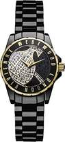 Vivienne Westwood Girl's Sloane Showpiece Quartz Analogue Display Watch with Gold Dial and Black Ceramic Bracelet VV088SGDBK