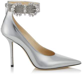 Jimmy Choo LITHE 100 Silver Liquid Mirror Leather Sandals with Crystal Buckle