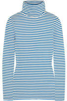 J.Crew Tissue Striped Cotton-jersey Turtleneck Top - Blue