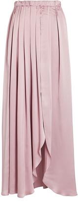 SABLYN Masha Pleated Silk Midi Skirt