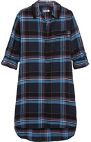 DKNY Plaid Jersey-trimmed Cotton-blend Nightshirt - Blue