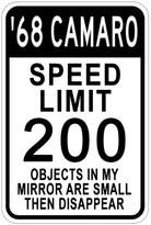 1968 68 CHEVY CAMARO Speed Limit Sign - 10 x 14 Inches