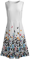 Lily Women's Casual Dresses WHT - White & Black Butterfly Sleeveless Fit & Flare Dress - Women & Plus