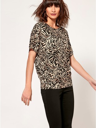 M&Co Tiger print batwing top