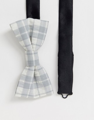Twisted Tailor seersucker bow tie in grey check