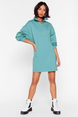 Nasty Gal Womens It's Zip-Up to You Mini Sweatshirt Dress - Teal