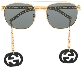Gucci Chain-Trimmed Aviator Sunglasses