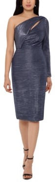 Betsy & Adam Metallic One-Shoulder Sheath Dress