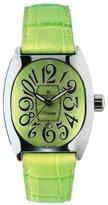 Montres de Luxe Women's BI3 VER Bisanzio Stainless Steel Luminous Mint Green Leather Date Watch
