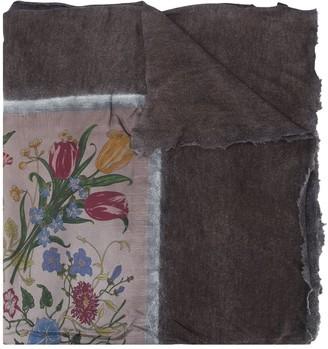 Avant Toi Floral Print Detail Scarf