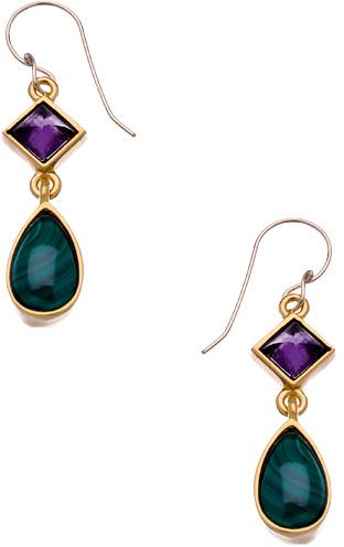 Evelyn Knight Gold Malachite and Amethyst Teardrop Earrings