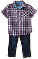 7 For All Mankind Baby Boys 12-24 Months Plaid Short-Sleeve Shirt & Jeans Set