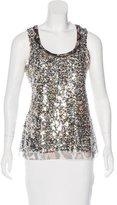 Elie Tahari Sleeveless Sequin-Embellished Blouse