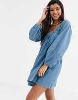 Free People Blue Jeans volume sleeve dress