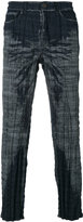 Issey Miyake woven check trousers