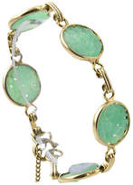 One Kings Lane Vintage Carved Floral Faux-Jade Gold Bracelet