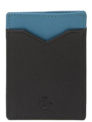 Original Penguin Colorblock Leather Card Case
