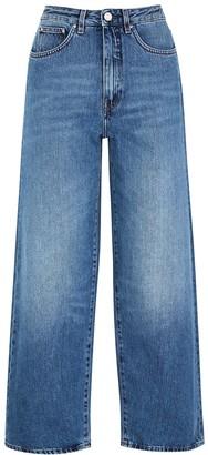 Totême Flair Blue Cropped Wide-leg Jeans