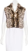 Adrienne Landau Cheetah Print Fur Vest
