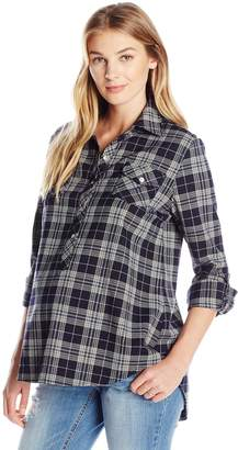 Everly Grey Women's Maternity Bethany Long Sleeve Button Front Collared Shirt