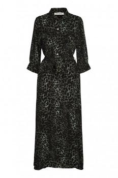 Sofie Schnoor Green Long Sleeve Leopard Maxi Dress S