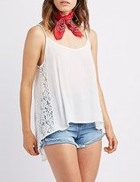 Charlotte Russe Lace-Trim High-Low Tank Top