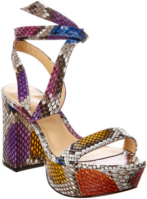 Alexandre Birman Noelle 85 Snake-Embossed Leather Platform Sandal