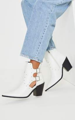 PrettyLittleThing White Point Toe Diamante Stud Buckle Ankle Boot