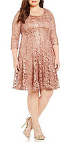 Leslie Fay Plus 3/4 Sleeve Magic Waist Dress