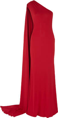 Naeem Khan One-shoulder Draped Stretch-jersey Gown
