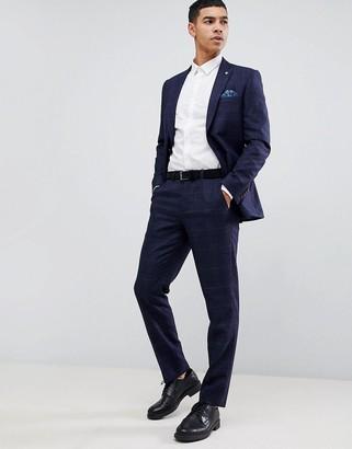 Burton Menswear wedding slim fit check suit trousers in navy