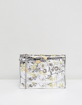 New Look Embroidered Mirror Metallic Clutch Bag