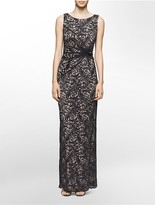 Calvin Klein Lace Ruched Twist Gown