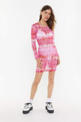 Nasty Gal Womens Good To Be Sheer Tie Dye Mesh Dress - Pink - 14