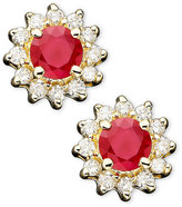 Effy Royalty Inspired by Ruby (5/8 ct. tw.) and Diamond (1/4 ct. tw.) Stud Earrings in 14k Gold