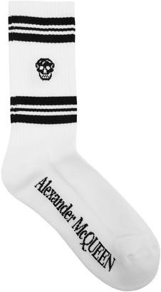 Alexander McQueen White Skull-intarsia Cotton-blend Socks