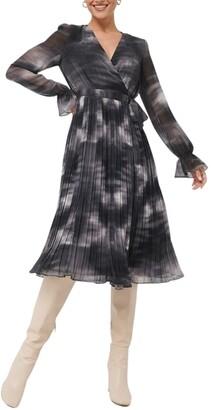 NA-KD Tie Dye Long Sleeve Midi Wrap Dress