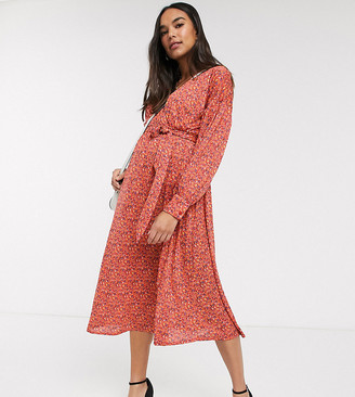 ASOS DESIGN Maternity wrap midi dress with belt in red ditsy