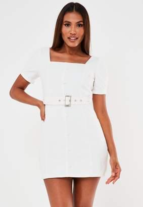 Missguided Petite White Belted Denim Puff Sleeve Denim Mini Dress