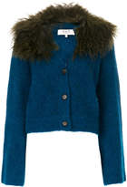 Sea lamb fur trim cardigan