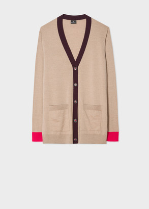 Paul Smith Women's Taupe Wool Long Cardigan With Contrast Trims