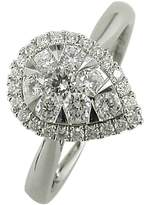 EWA 18ct White Gold Pear Shaped Diamond Cluster Engagement Ring, White Gold