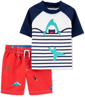 Carter's Carter Baby Boys 2-Pc. Upf 50+ Shark Rash Guard & Board Shorts Set
